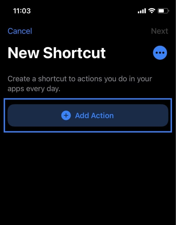 Click the Add Action button